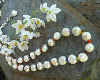 Baroque Pearl and Genuine Gemstone Necklace with Matching Earrings