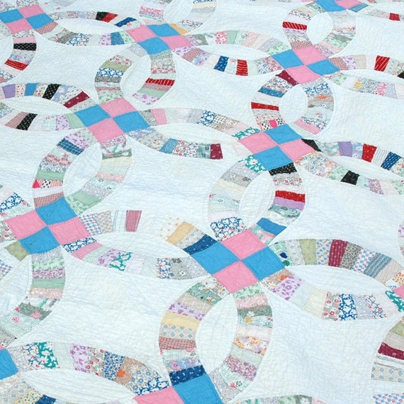 Items Similar To 1950 S Vintage Double Wedding Ring Quilt