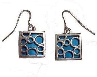 small aqua square bubble earrings