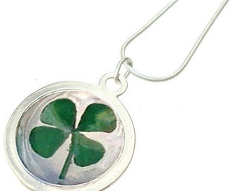 Lucky Four Leaf Clover/silver pendant/ St. Patrick's Day