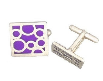 Square sterling silver PURPLE bubble cufflinks