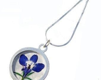 Iris and silver pendant