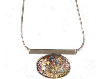 Fired Multi Glass Sterling Silver Large Oval Pendant