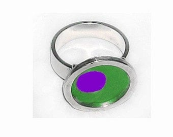 TWO TONE green/purple silver,recycled aluminum rings