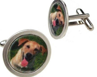 Fathers Day Cufflinks Personalized with Pet ,Child and more