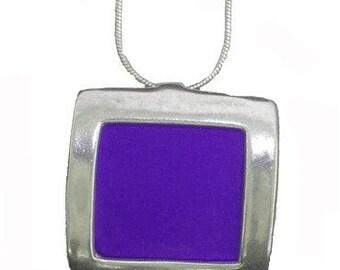 recycled aluminum/silver Purple square pendant