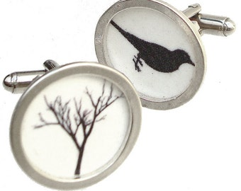 Father's Day/ Bird and Tree / Custom image cufflinks