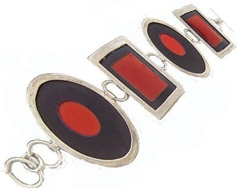 Large Two Tone Silver/recycled aluminum red and black bracelet