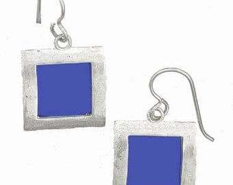 recycled aluminum/silver Blue square earrings