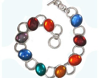 Rainbow Glass sterling silver bracelet valentine's day gifts