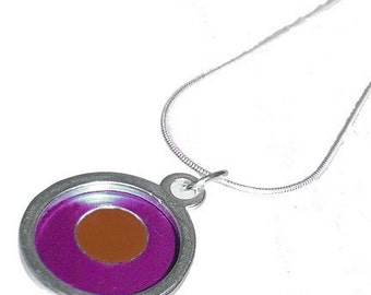 Small Two Tone round fuchsia/orange Pendant