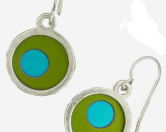 Small Two Tone lime/aqua Earrings