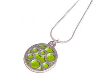 Small Round Lime Bubble pendant