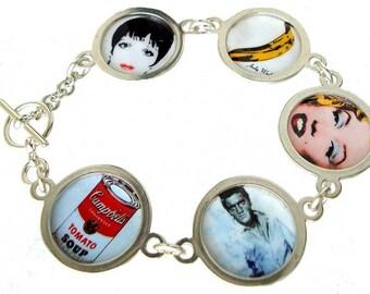 POP ART 80's vintage pins/button sterling silver bracelet