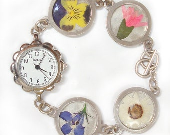 pressed flower sterling silver watch Mom's lover these