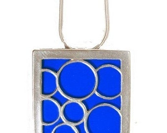 recycled aluminum/silver BLUE large square bubble  pendant