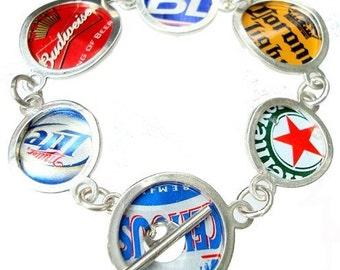 Beer Bottle Cap/ Sterling Silver Bracelet