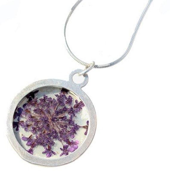 purple queen anns lace\/silver pendant