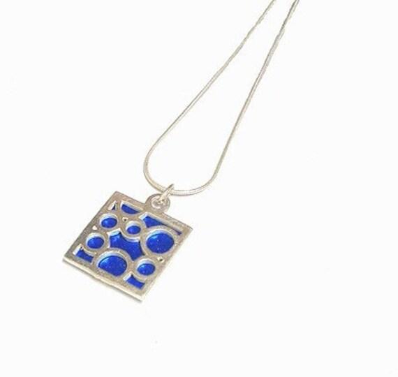 Small Square Blue Bubble pendant