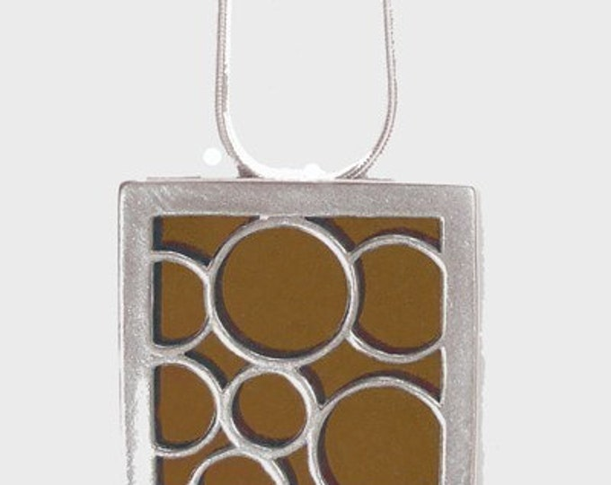 Sterling Silver Square Pendant with Large Brown Bubbles