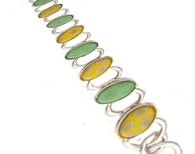 Vintage Porcelain Tile/ Silver Bracelet in Green and Yellow