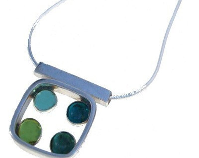 Hip to be Square Pendant with settings in shades of greens