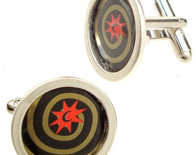 Magic Hat Cuff Links of Bottle Caps\/ Sterling Silver