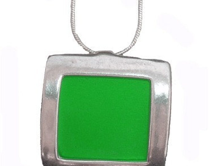 recycled aluminum/silver Green square pendant