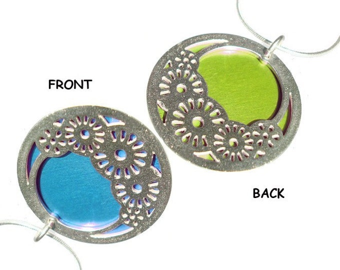 Small reversible Wheels pendant with Lime front and Aqua back