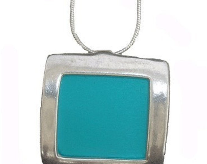 recycled aluminum/silver square pendant