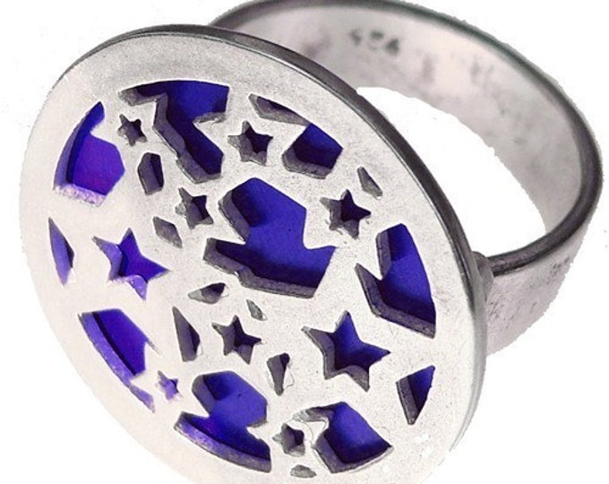 STARS ring of recycled aluminum/sterling silver in BLUE