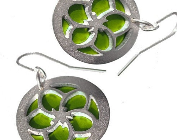 Silver/Lime earrings of Reversible Flowers with lime front and green back