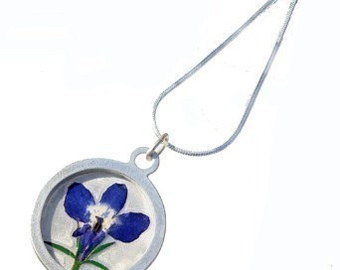 Iris and silver pendant