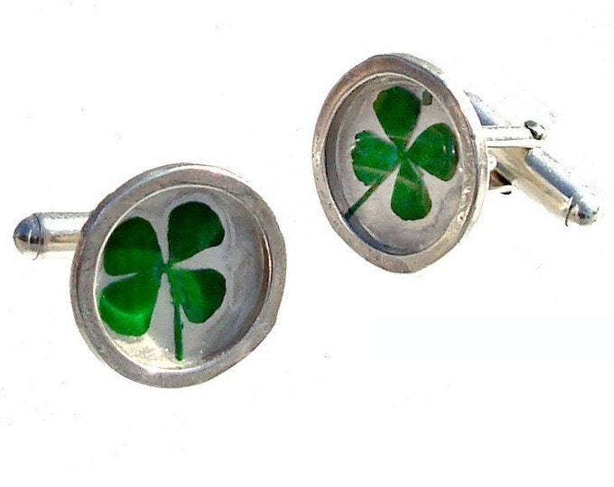 Fathers Day Gift for Dad, Irish, Silver Cuff Links with real clovers