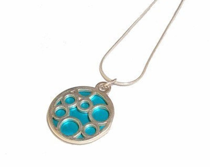 Small Round Aqua Bubble pendant