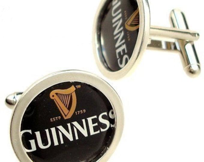 Guinness Cuff Links of Bottle Cap / Sterling Silver cuff
