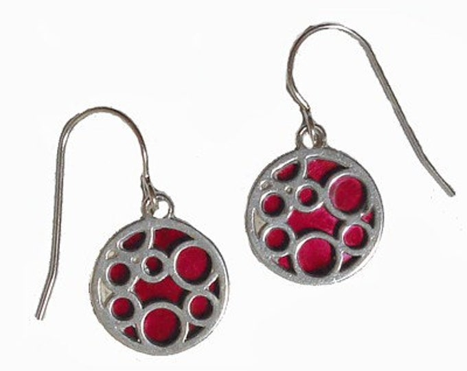 small red round bubble earrings