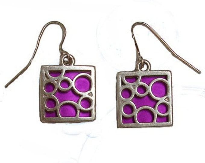 small square fuchsia bubble earrings