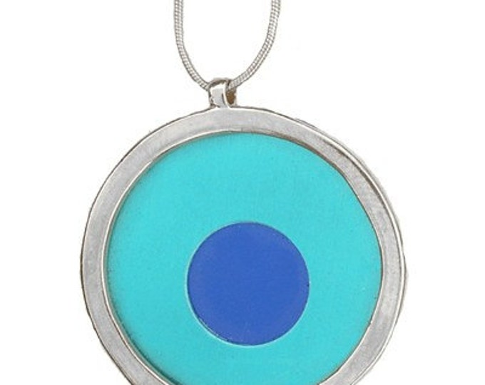 Large Two tone aqua/blue pendant