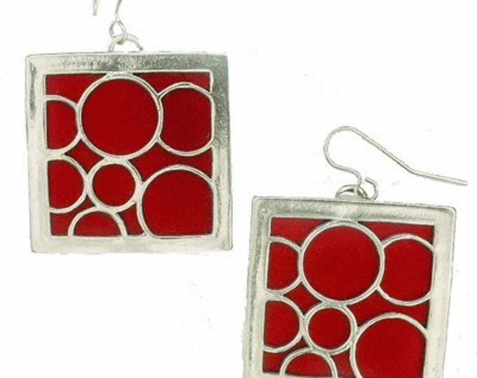 large square red bubble earrings