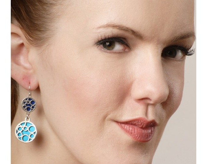 large and small mix bubble earrings in Blue and Aqua