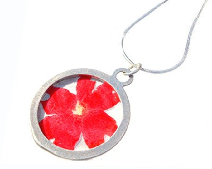 Red Verbena/sterling silver pendant