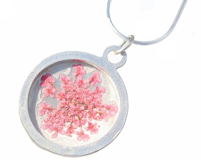 Flower Necklace-Handmade pink queen anns lace silver pendant