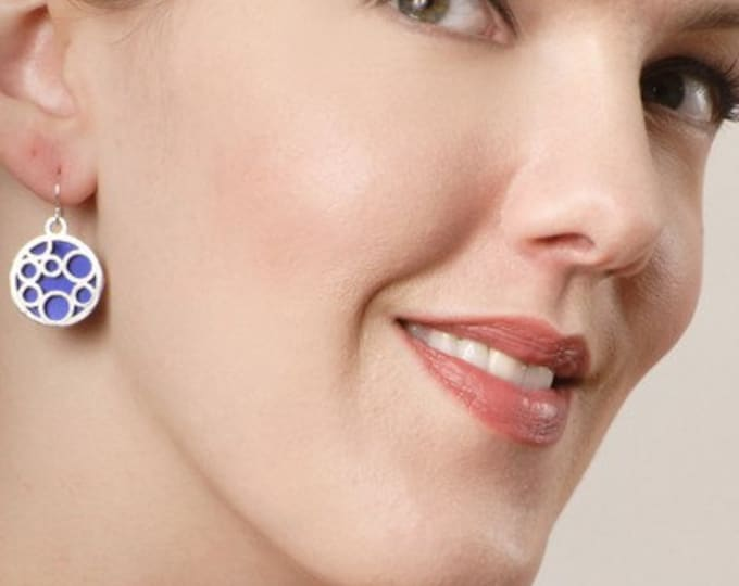 Medium round bubble earrings in Blue