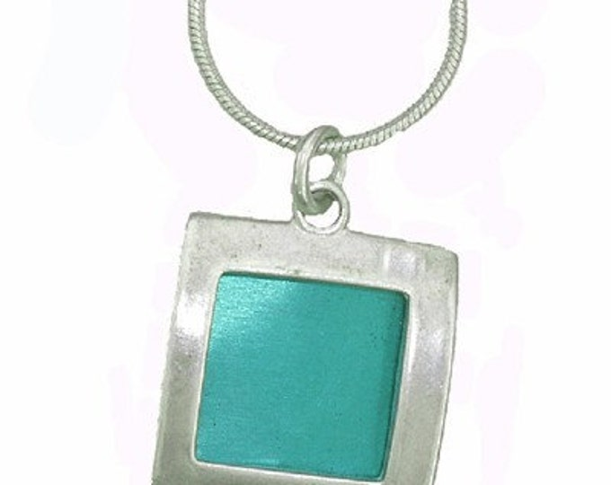 small square recycled aluminum/silver pendant in Aqua