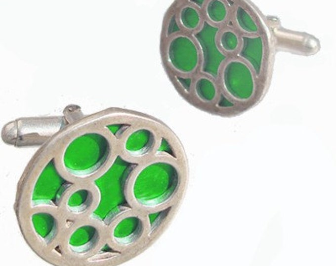Round sterling silver Green bubble cufflinks