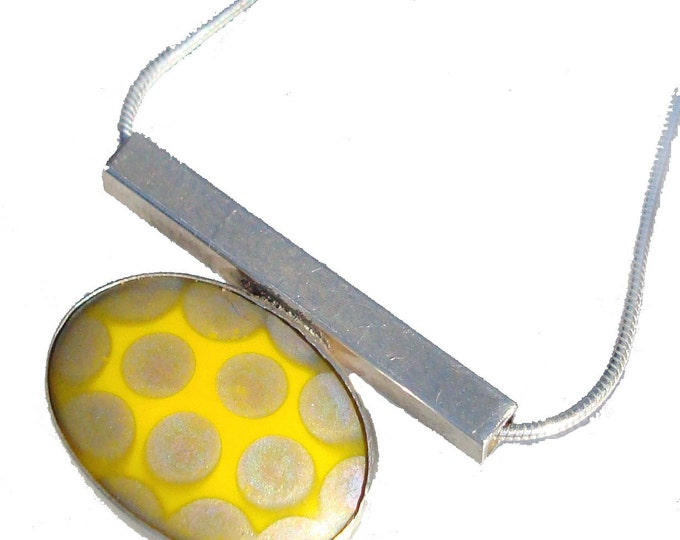 Vintage Porcelain Tile silver Pendant in Yellow
