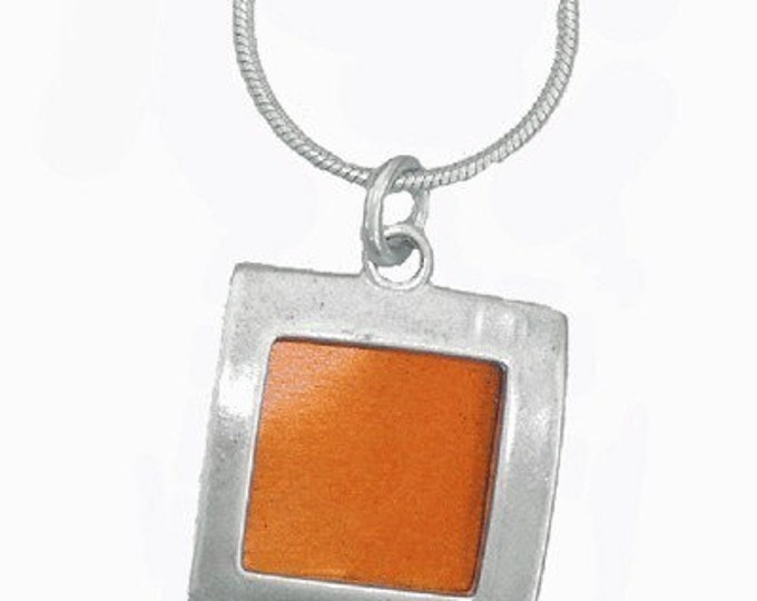 small square recycled aluminum/silver pendant in orange