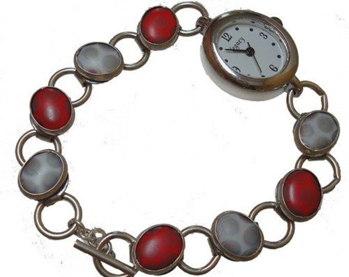 Vintage Porcelain Tile/silver watch in red and white