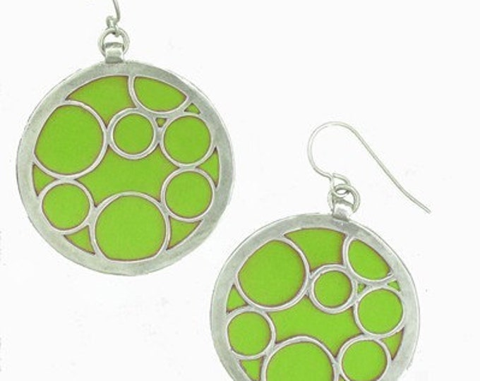 large lime round bubble earrings